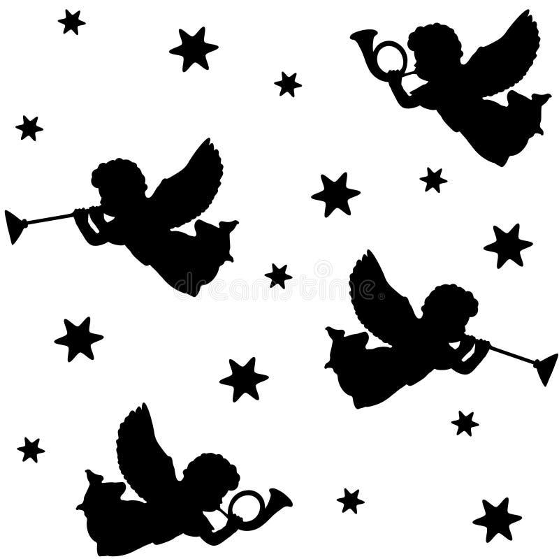 Sömlös modell för jul med konturer av änglar, trumpeter och stjärnor, svarta symboler, illustration royaltyfri illustrationer