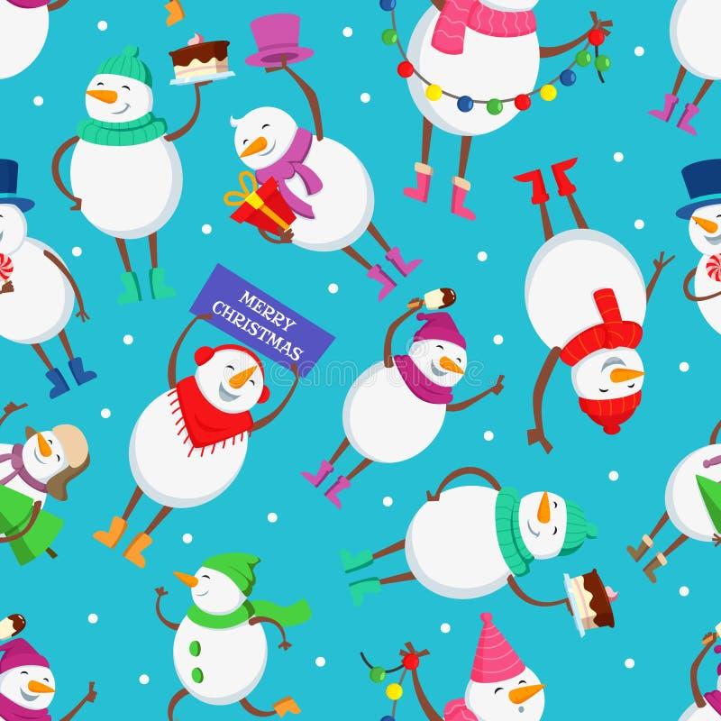 Sömlös modell för jul med roliga tecken av snögubben vektor illustrationer