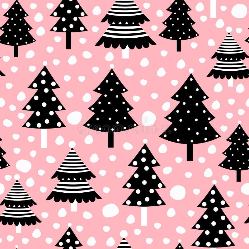 Sömlös modell för jul med svarta träd på rosa bakgrund stock illustrationer