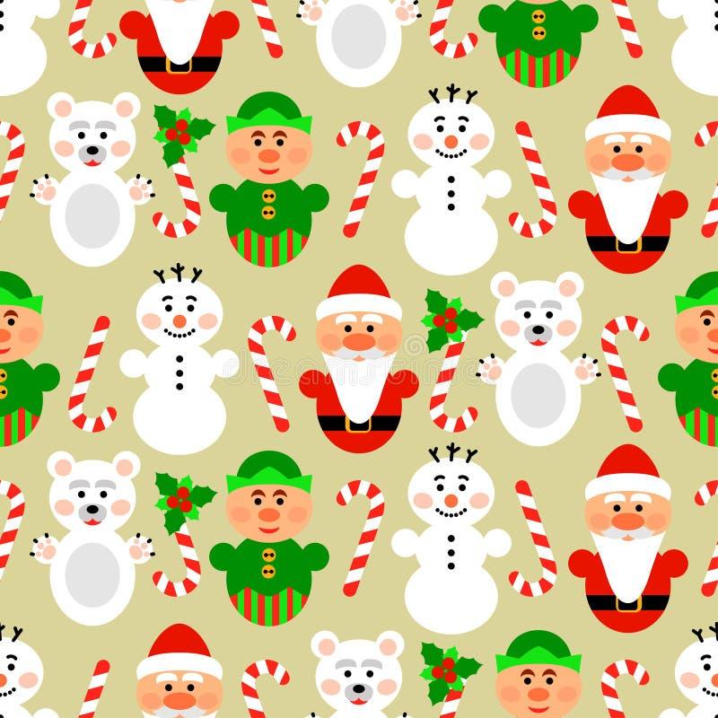 Sömlös modell för jul med tecken, beiga vektor illustrationer