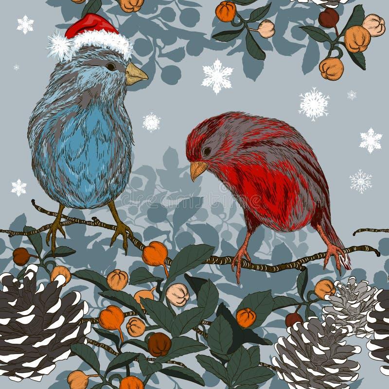 Sömlös modell för jul med vinterfåglar vektor illustrationer