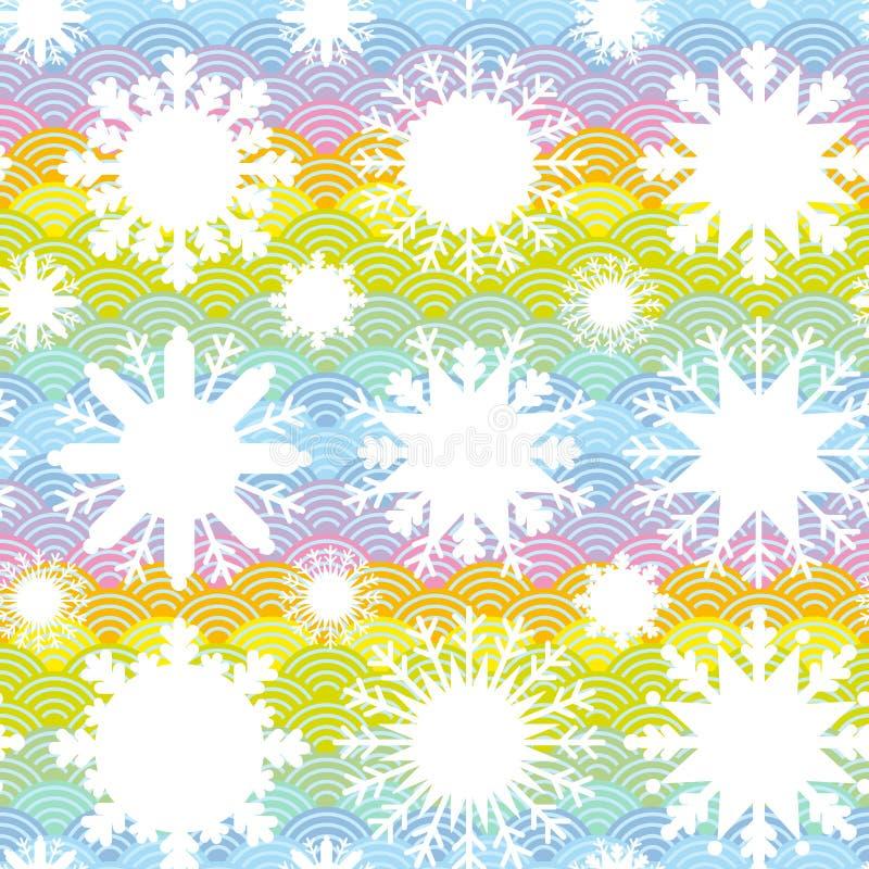 Sömlös modell för juldesign, Kawaii vit snöflingauppsättning på för vågbakgrund för blå mintkaramell orange rosa lila japansk abs stock illustrationer