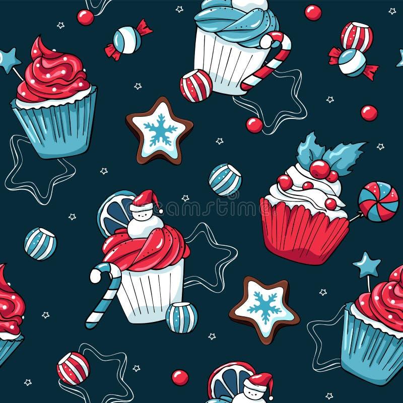 Sömlös modell för julmuffin- och sötsakvektor Muffin och godisar för hand utdragna på mörkt - blå bakgrund med stock illustrationer