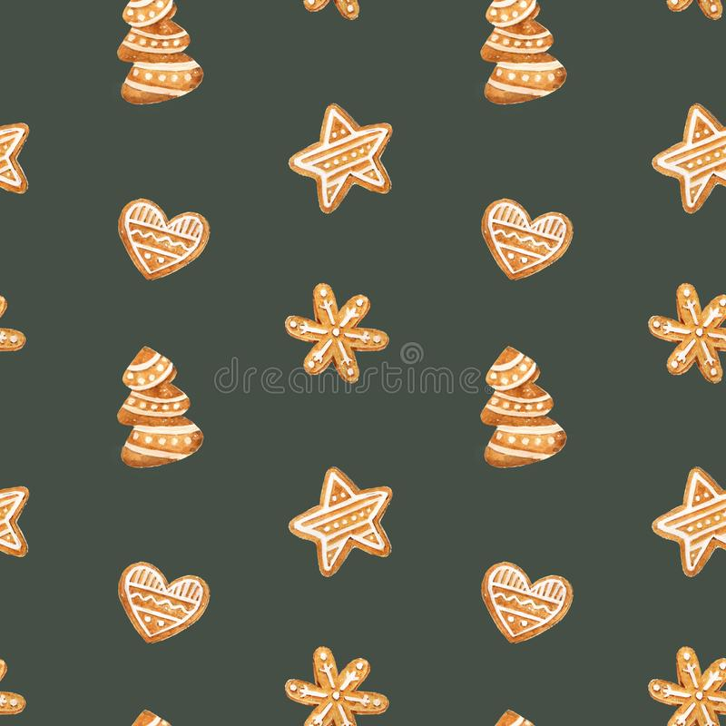 Sömlös modell för julpepparkaka Ljust rödbrun kakor på blå bakgrund för flygillustration för näbb dekorativ bild dess paper styck vektor illustrationer