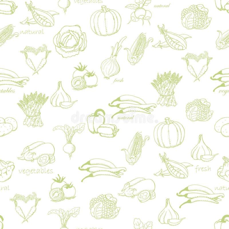 Sömlös modell för kök med en variation av grönsaker på ljus - grön bakgrund royaltyfri illustrationer