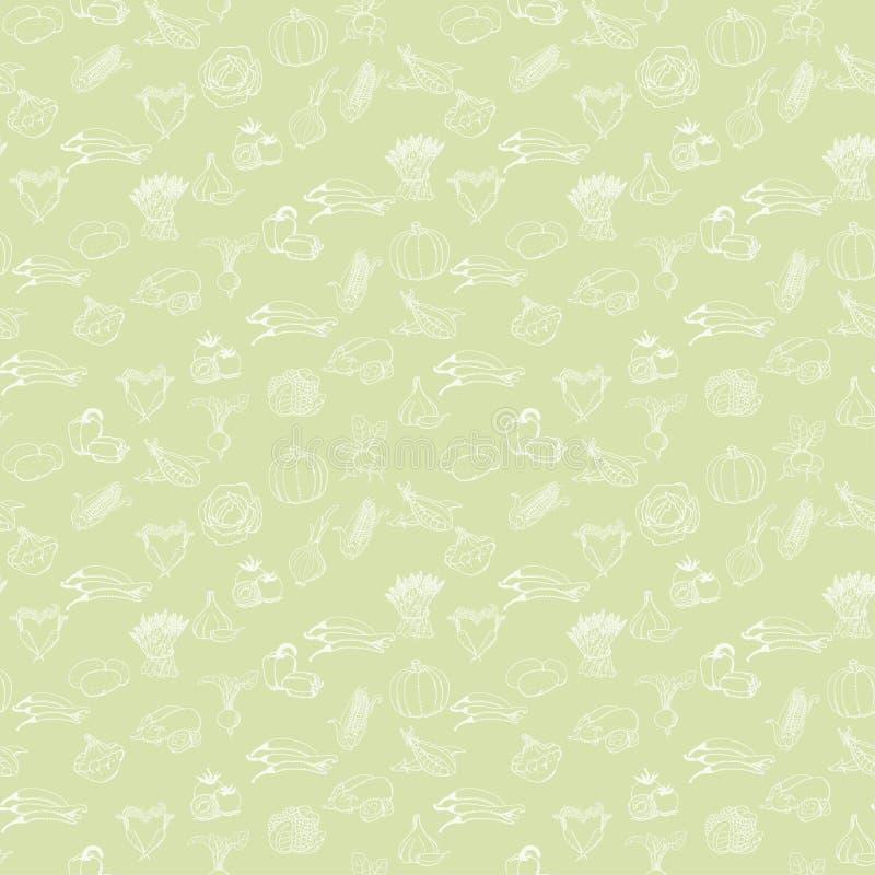 Sömlös modell för kök med vita grönsaker på ljus - grön bakgrund också vektor för coreldrawillustration stock illustrationer