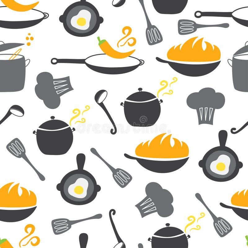 Sömlös modell för kökbeståndsdelar stock illustrationer
