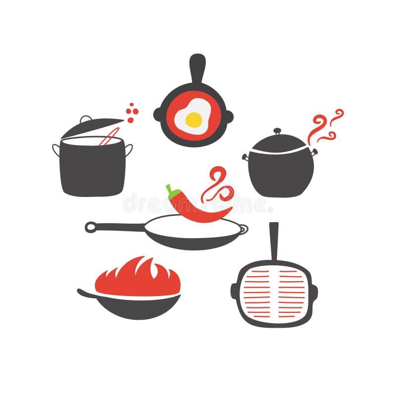 Sömlös modell för kökbeståndsdelar royaltyfri illustrationer