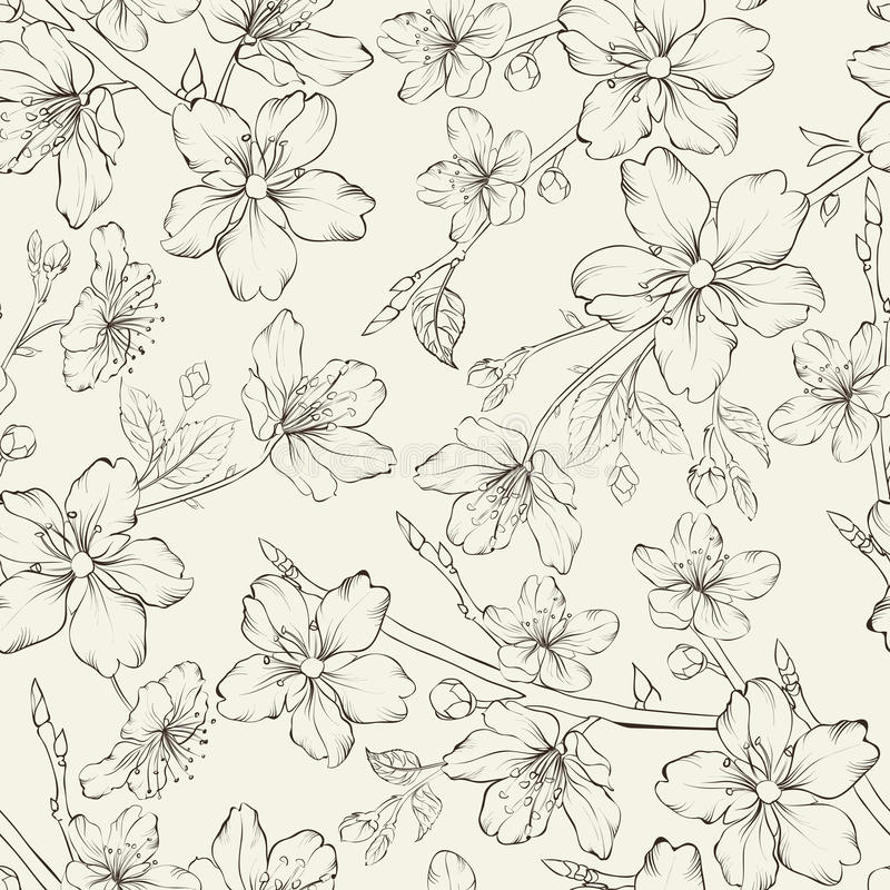 Sömlös modell för körsbärsröd blomning. stock illustrationer