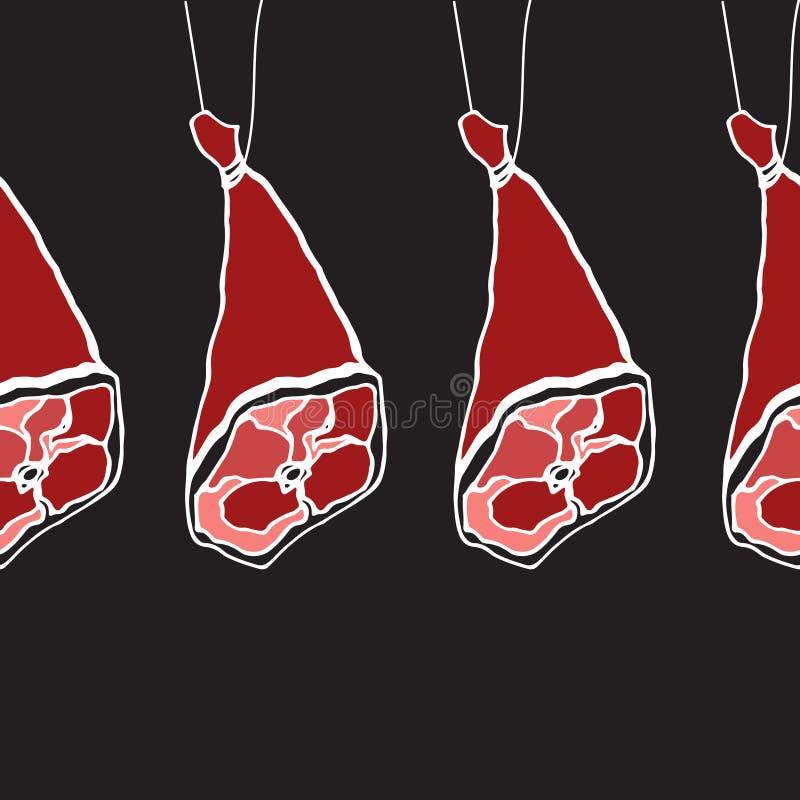 Sömlös modell för köttprodukt Mat tecknad hand royaltyfri illustrationer