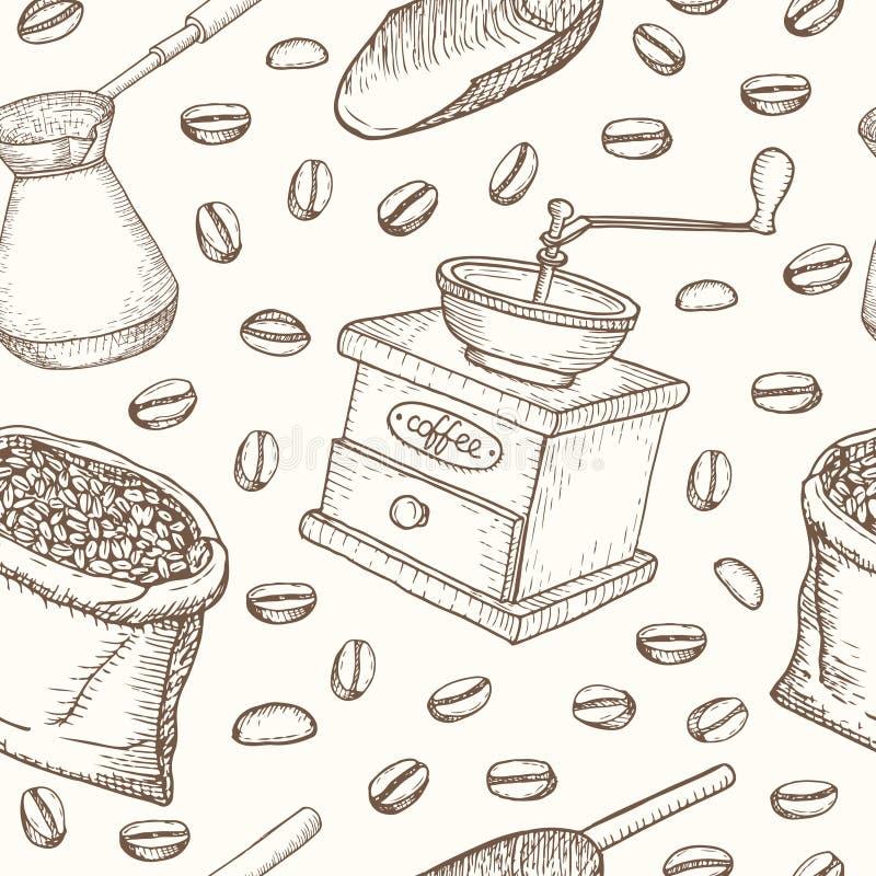 Sömlös modell för kaffeuppsättning Användbart för restaurangidentitet vektor illustrationer