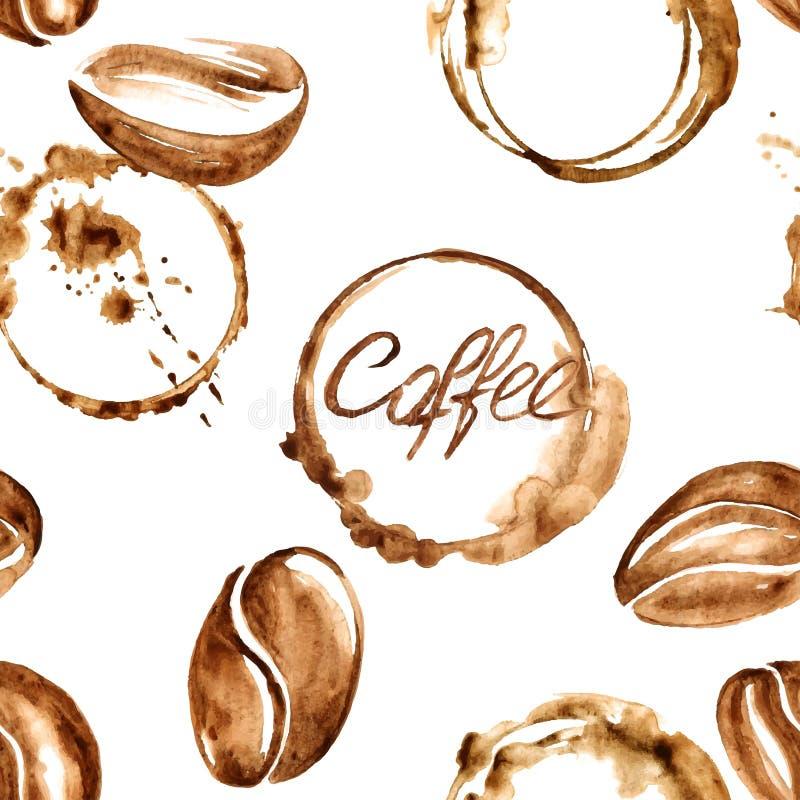 Sömlös modell för kaffevattenfärg vektor illustrationer