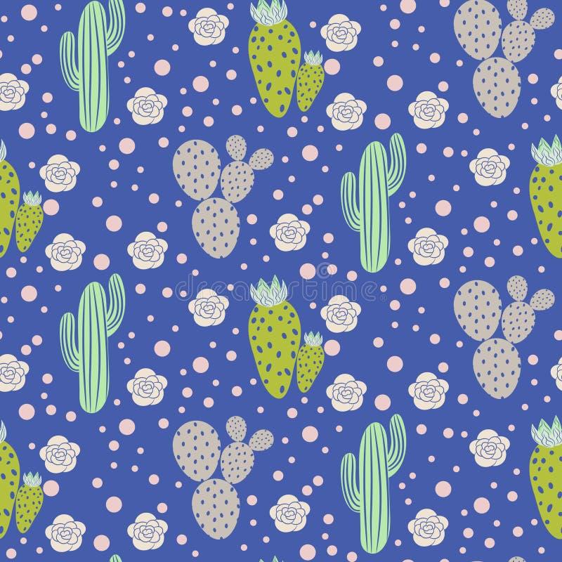 Sömlös modell för kaktusökenvektor Grön och grå textur för naturtygtryck royaltyfri illustrationer