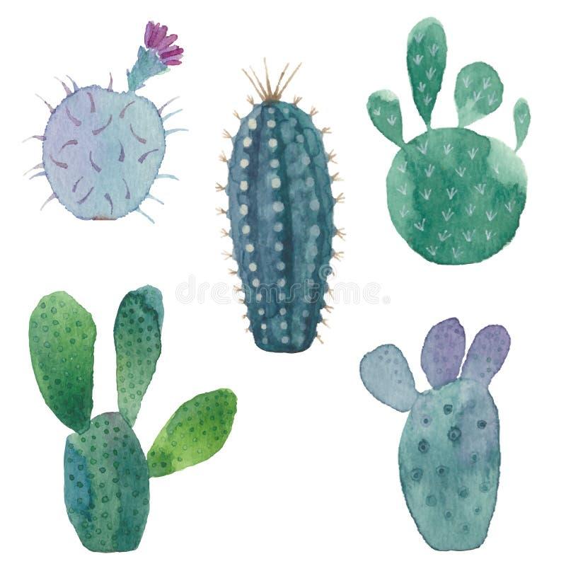 Sömlös modell för kaktus på vit bakgrund Vektor vattenfärg stock illustrationer