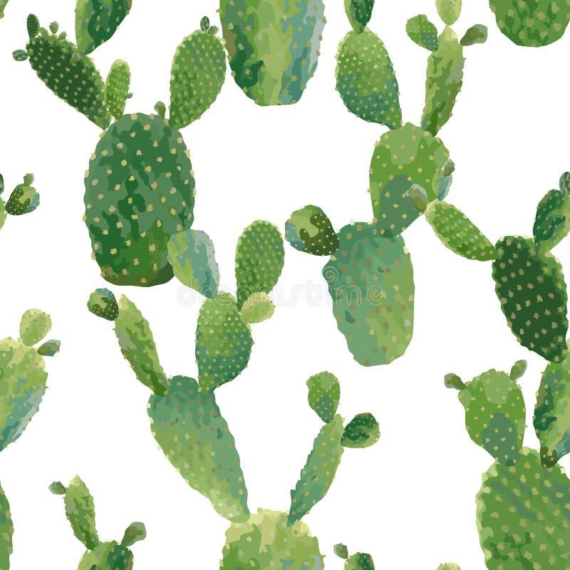 Sömlös modell för kaktusväxt Botanisk bakgrund för exotisk tropisk sommar stock illustrationer