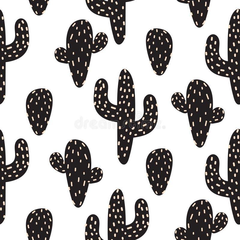 Sömlös modell för kaktusväxtvektor Abstrakt tryck för tecknad filmökentyg stock illustrationer