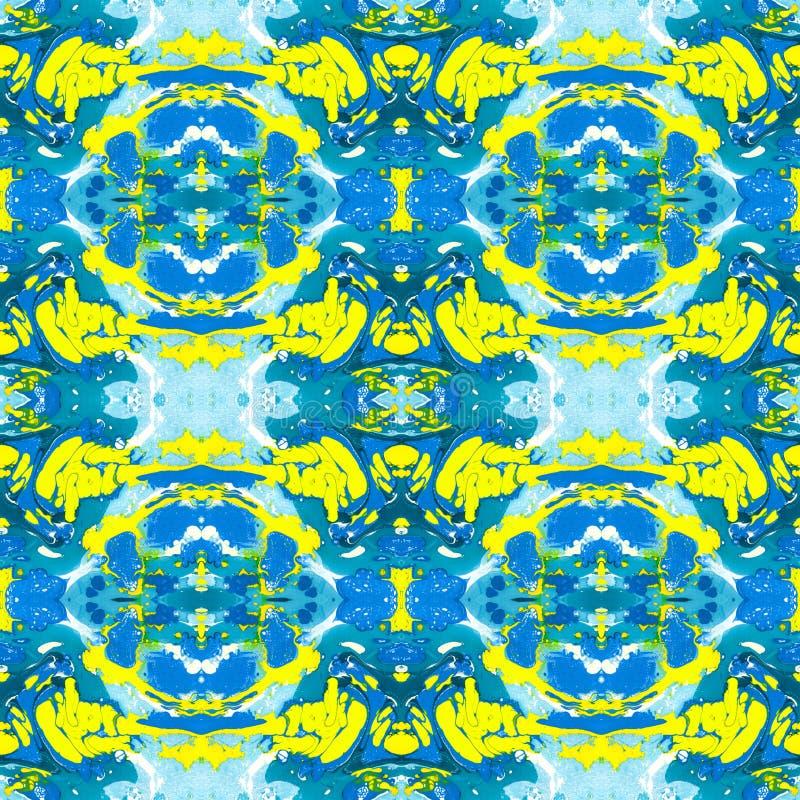 Sömlös modell för kalejdoskop av blått och gult vektor illustrationer