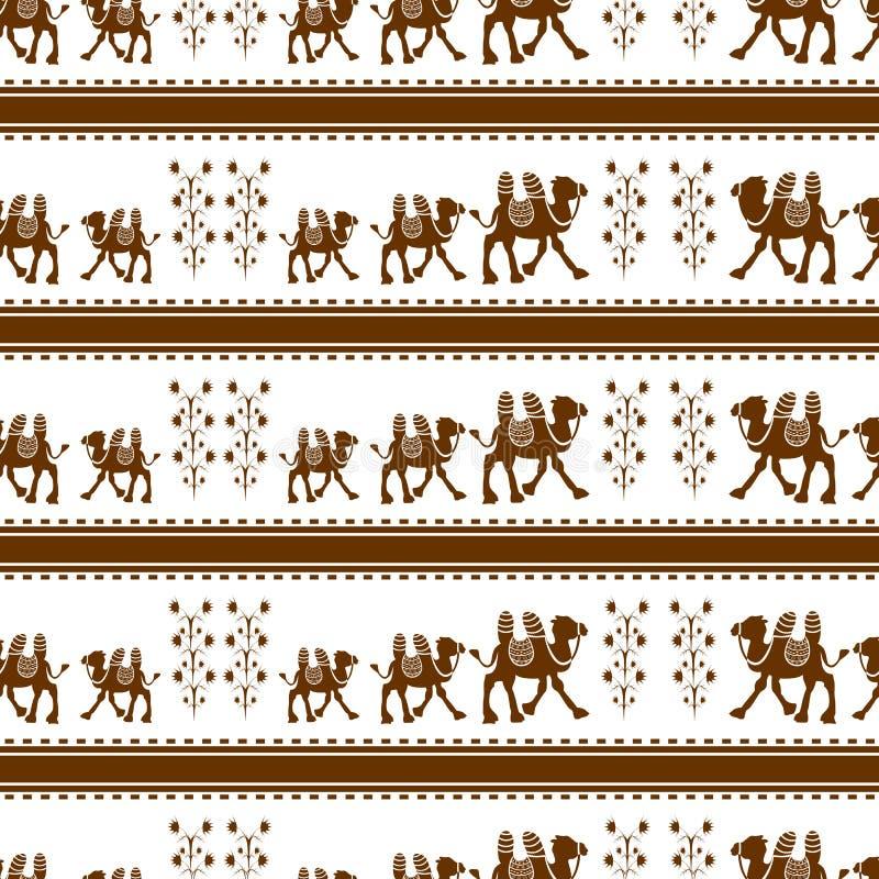 Sömlös modell för kamel också vektor för coreldrawillustration royaltyfri illustrationer