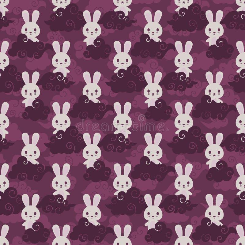 Sömlös modell för kanin- och asiatmoln royaltyfri illustrationer
