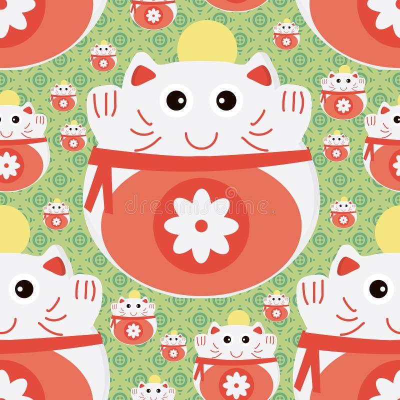 Sömlös modell för kattJapan pengar royaltyfri illustrationer