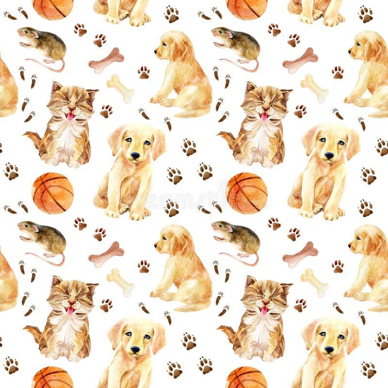 Sömlös modell för kattunge, för valp och för mus stock illustrationer