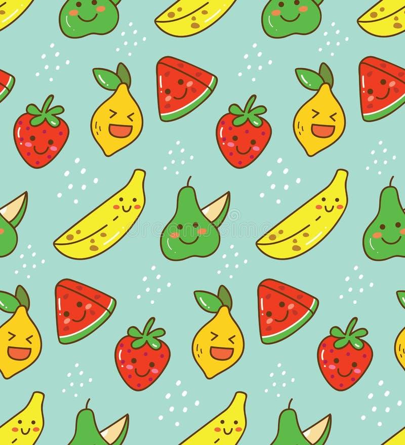 Sömlös modell för Kawaii frukt med citronen, jordgubben etc. stock illustrationer