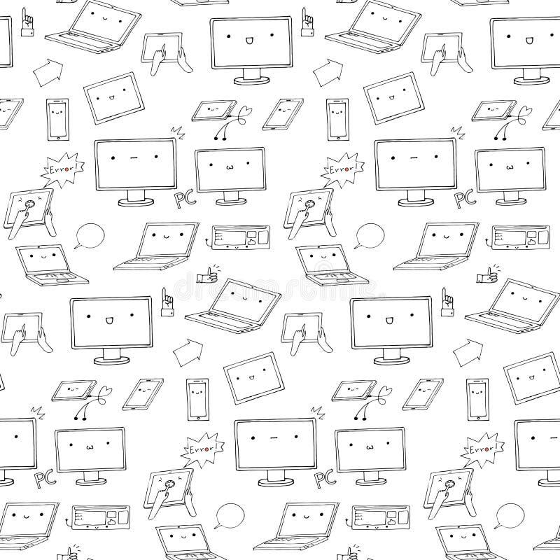 Sömlös modell för Kawaii grejer stock illustrationer
