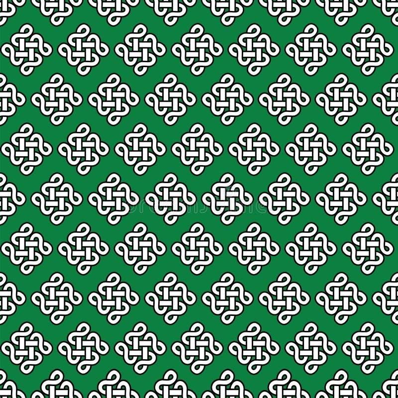 Sömlös modell för keltiskt ändlöst fnurensymbol för stil i vit med den svarta slaglängden på grön bakgrund som inspireras vid dag royaltyfri illustrationer
