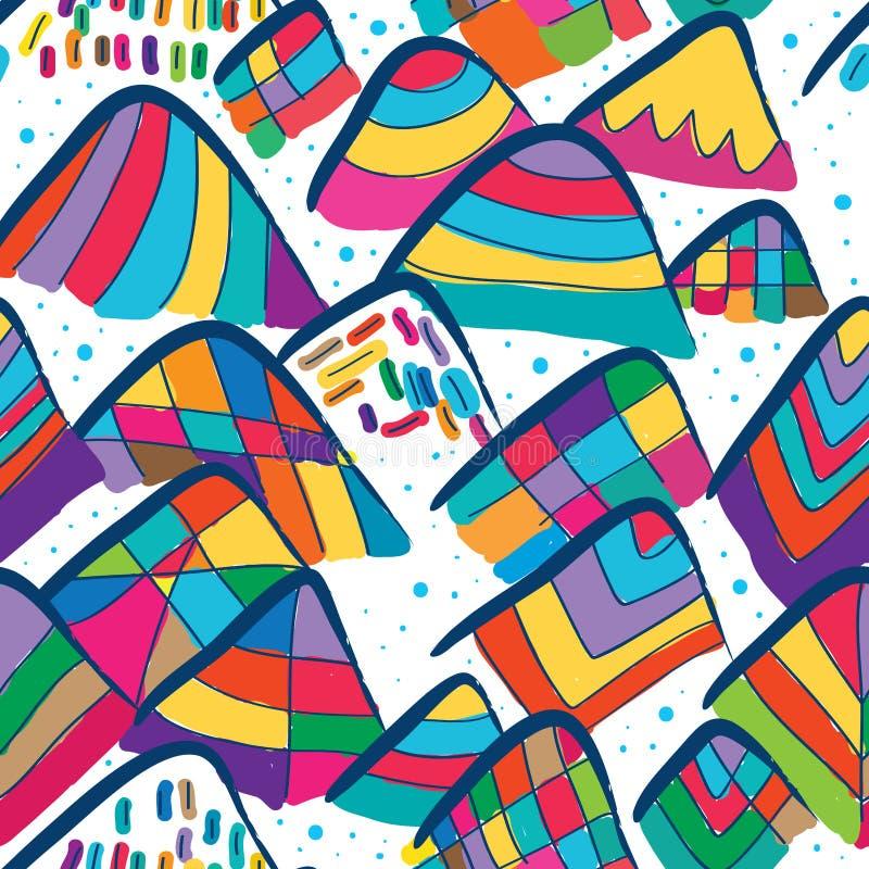 Sömlös modell för kinesisk stil för färgpulverberg stam- stock illustrationer
