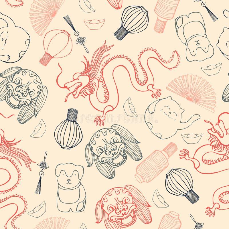 Sömlös modell för kinesisk vektor Den drog handen skissar illustratio royaltyfri illustrationer