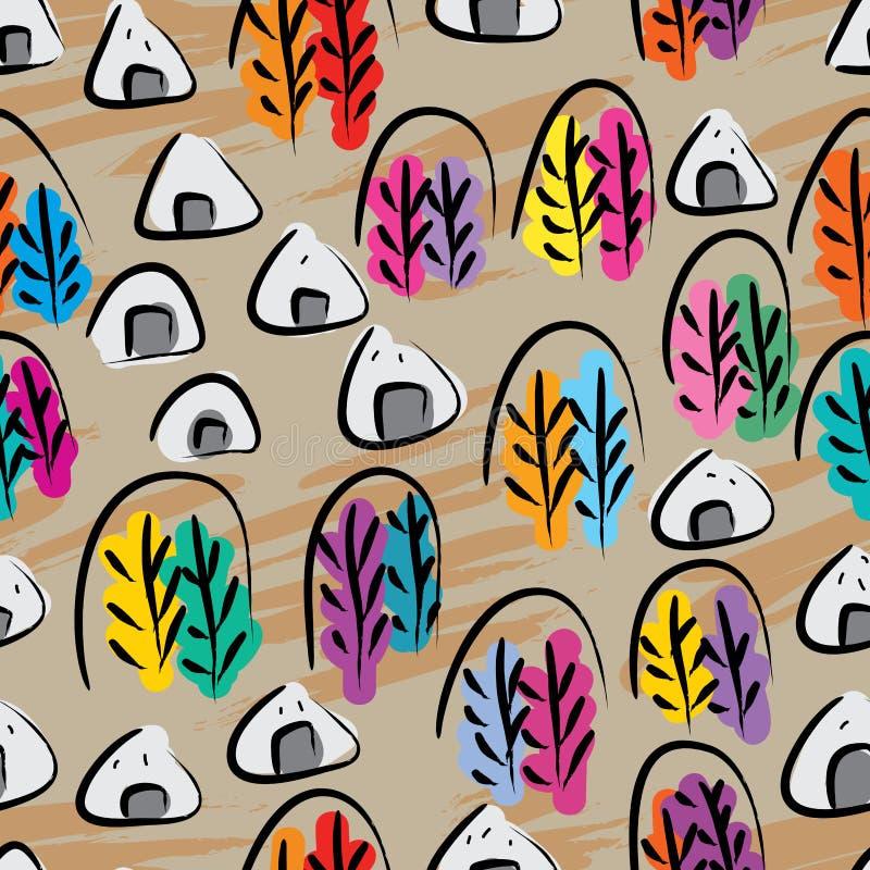 Sömlös modell för kinesiskt för Japan för färgpulverbergträd Onigiri mat te royaltyfri illustrationer