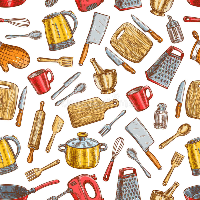 Sömlös modell för Kitchenware och för dishware royaltyfri illustrationer