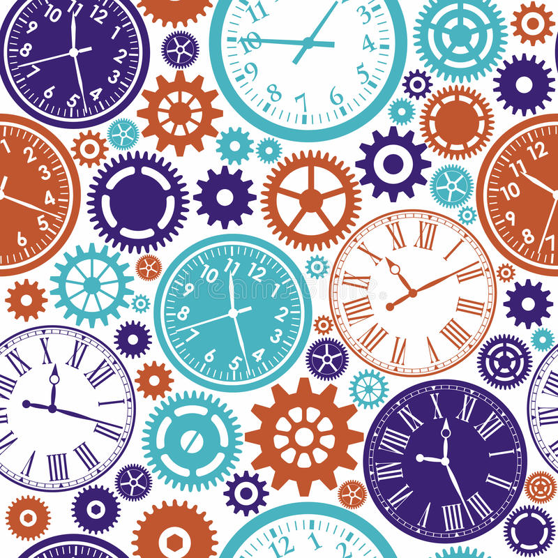 Sömlös modell för klocka` s vektor illustrationer