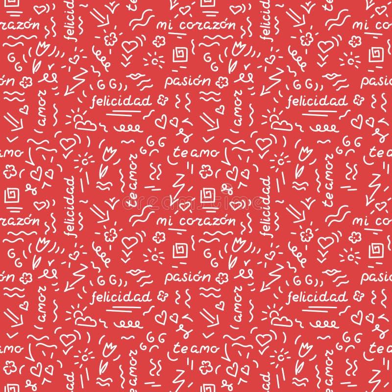 Sömlös modell för klotterhandteckning Ord uttryck av förälskelse i spanjor, hjärtor, pilar, blommor, squiggles på ett rött royaltyfri illustrationer