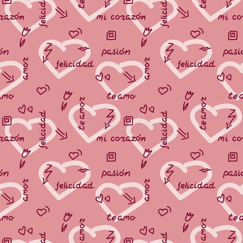 Sömlös modell för klotterhandteckning på rosa bakgrund Ord uttryck av förälskelse i spanjor, hjärtor, pilar, blommor, squiggles royaltyfri illustrationer