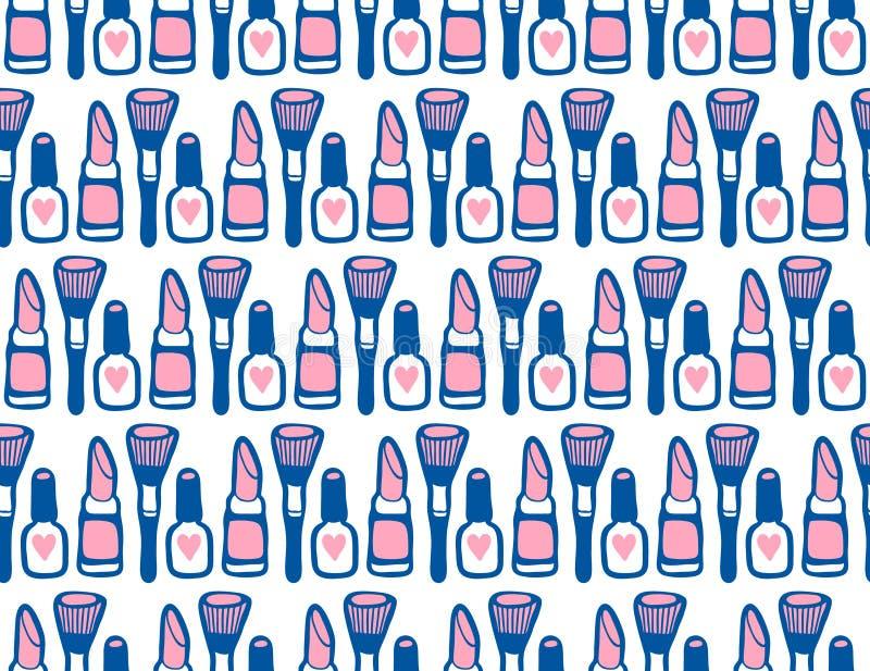 Sömlös modell för klotterskönhetsmedel stock illustrationer