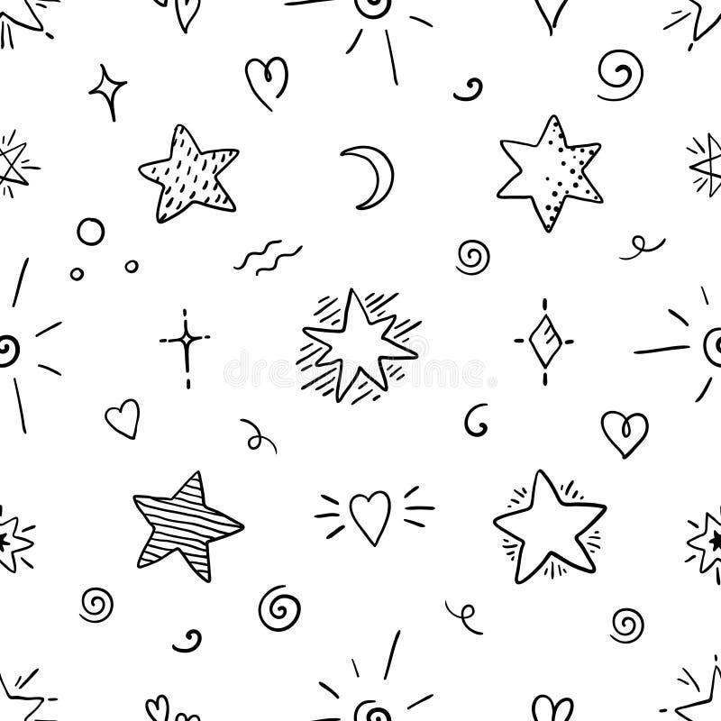 Sömlös modell för klotterstjärna Det magiska partiet skissar beståndsdelar, dekorativa dekorativa grafiska symboler Abstrakt stock illustrationer