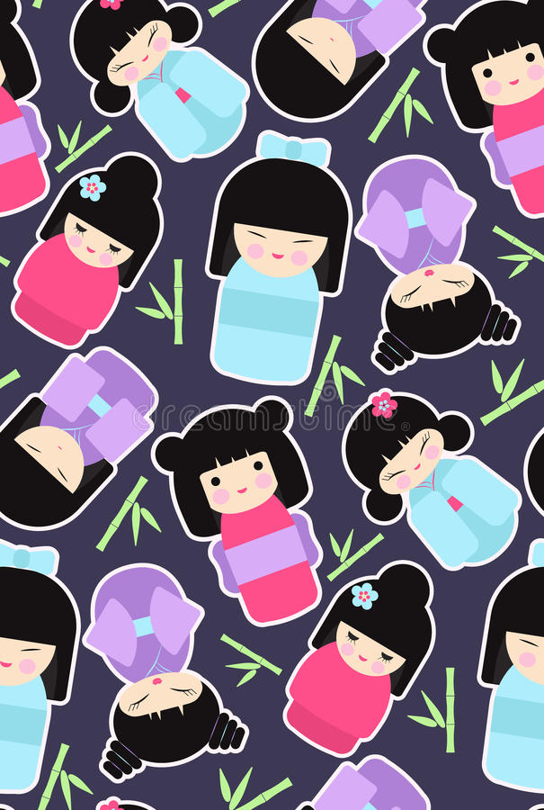 Sömlös modell för Kokeshi dockor stock illustrationer