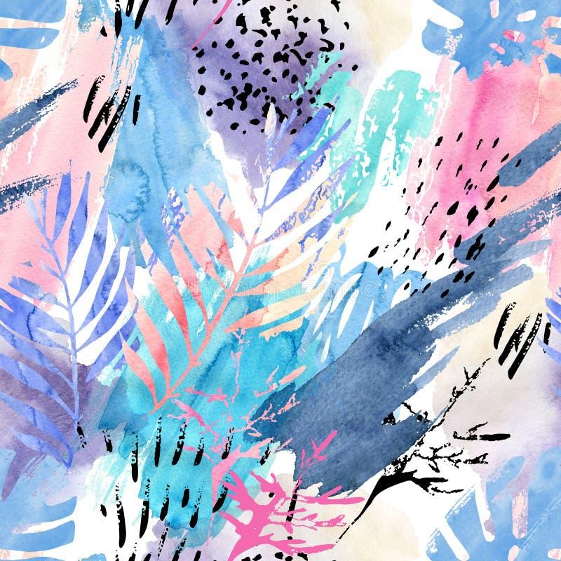 Sömlös modell för konstnärlig vattenfärg royaltyfri illustrationer
