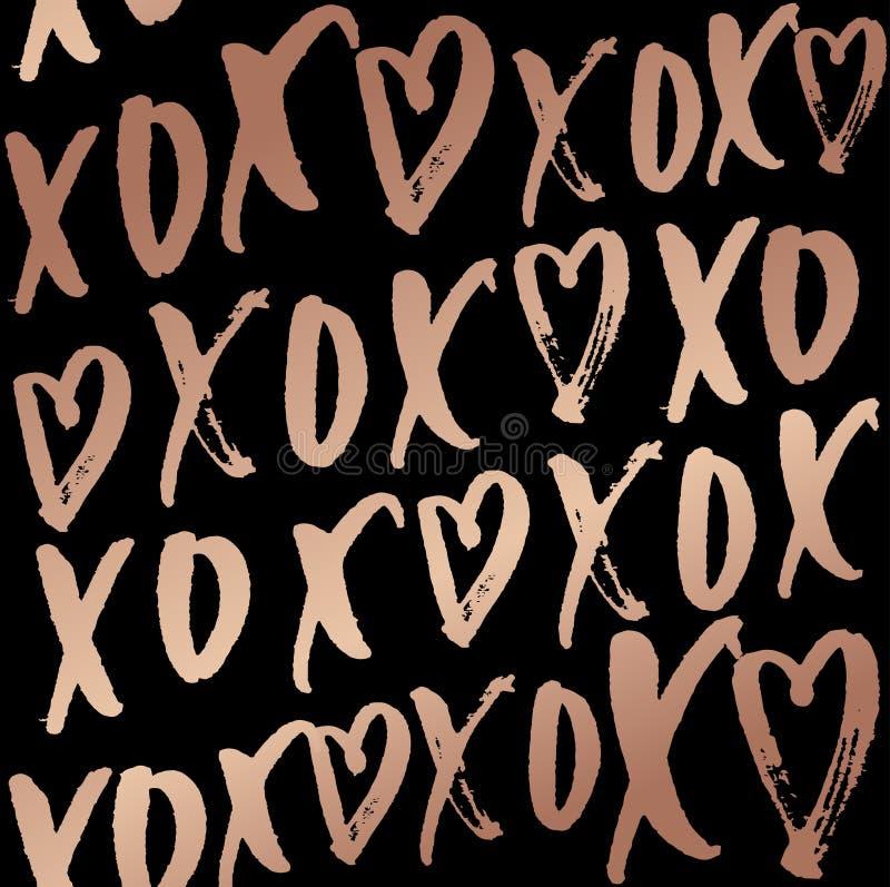Sömlös modell för kramar och för kyssar med bokstäver Rosa guld- desi vektor illustrationer