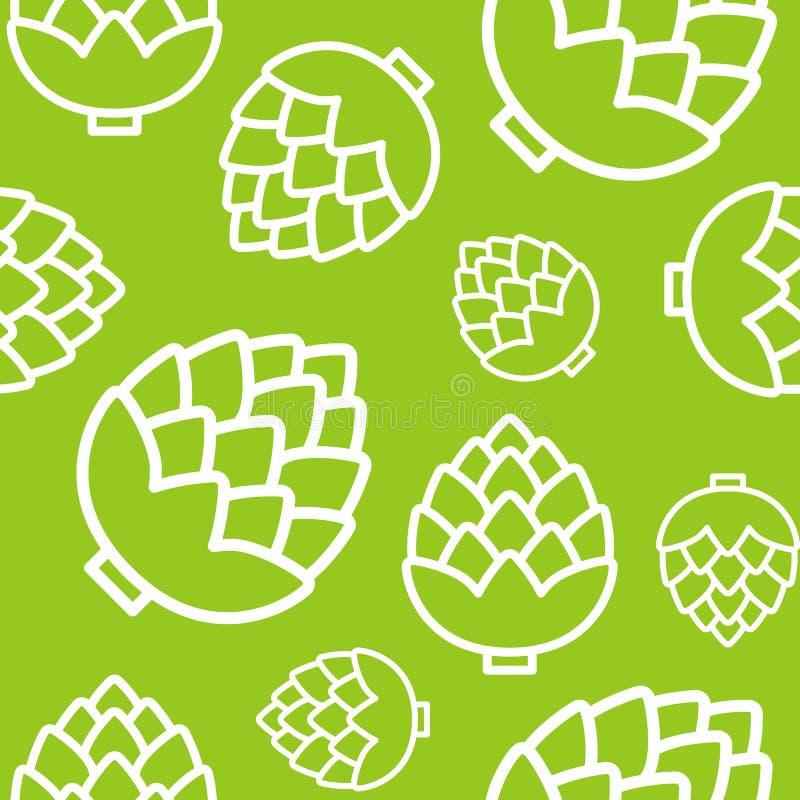 Sömlös modell för kronärtskockor, översiktsgrönsaktapet stock illustrationer