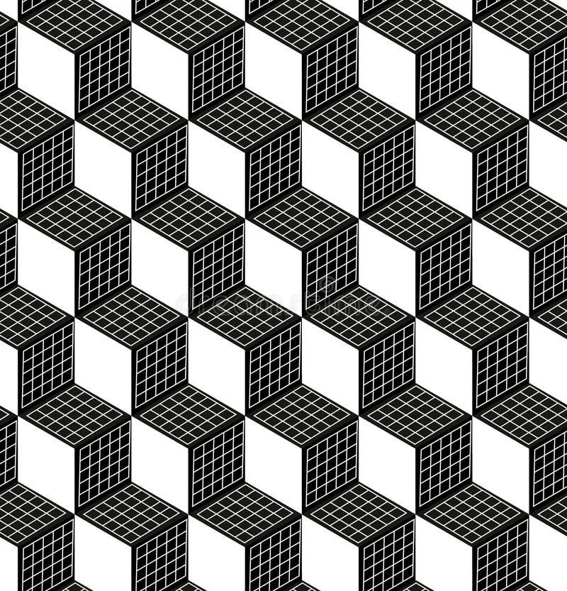 Sömlös modell för kub 3d Abstrakt futuristisk bakgrund för inpackningspapper Textur för vektorstamgäst 3d Modern volym royaltyfri illustrationer