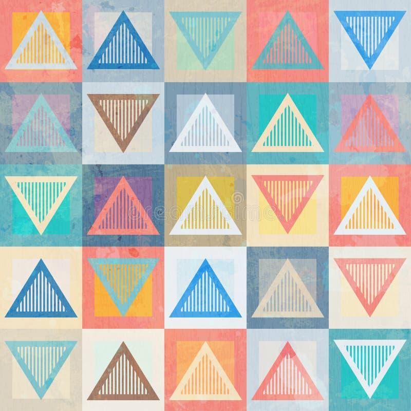 Sömlös modell för kulör triangel med grungeeffekt stock illustrationer