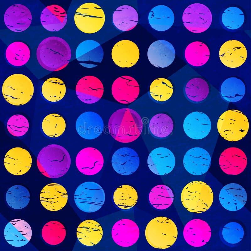 Sömlös modell för kulöra cirklar med grungeeffekt vektor illustrationer