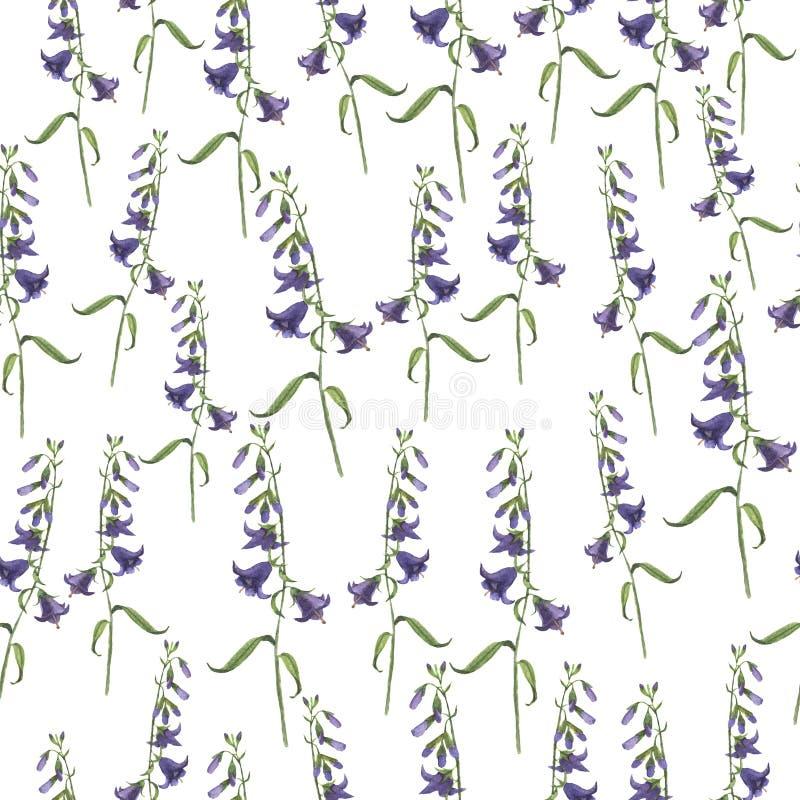 Sömlös modell för lös lila blåklocka Hand dragen vattenfärg stock illustrationer