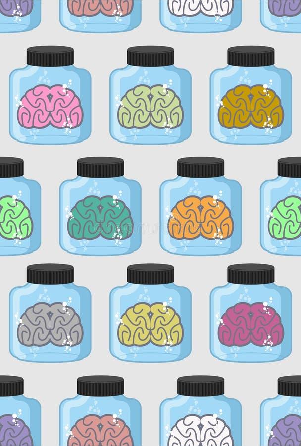 Sömlös modell för laboratoriumundersökningshjärnor i krus Färg eller stock illustrationer