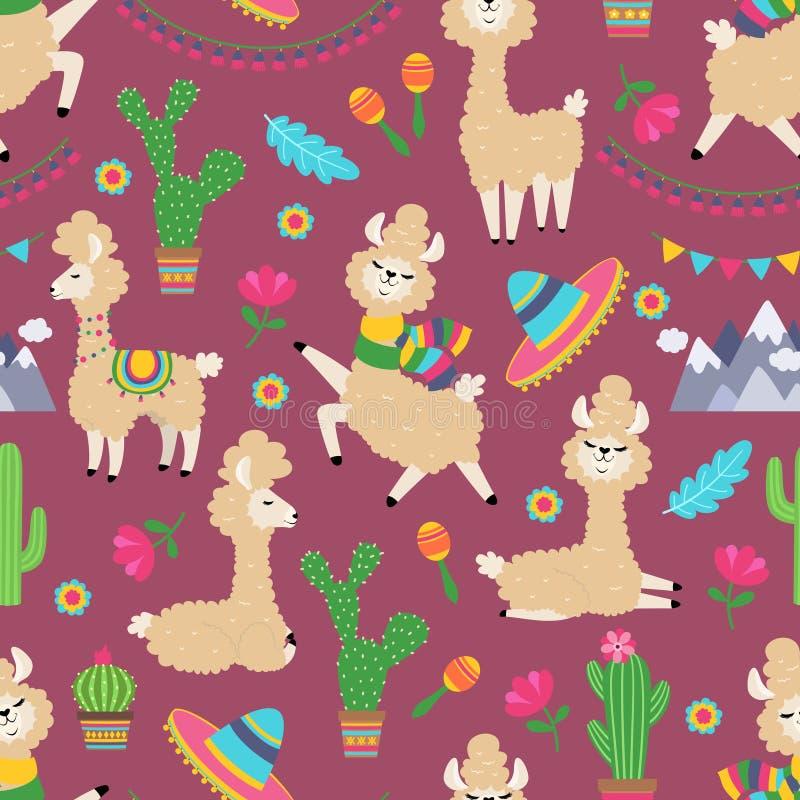 Sömlös modell för lama Alpaca behandla som ett barn och för kaktus textiltextur flickaktigt Stam- begrepp för lama vektor illustrationer