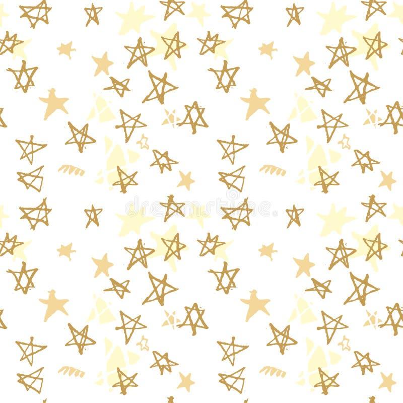 Sömlös modell för lantgård med utdragna stjärnor för hand Utdragna guld- stjärnor för hand stock illustrationer
