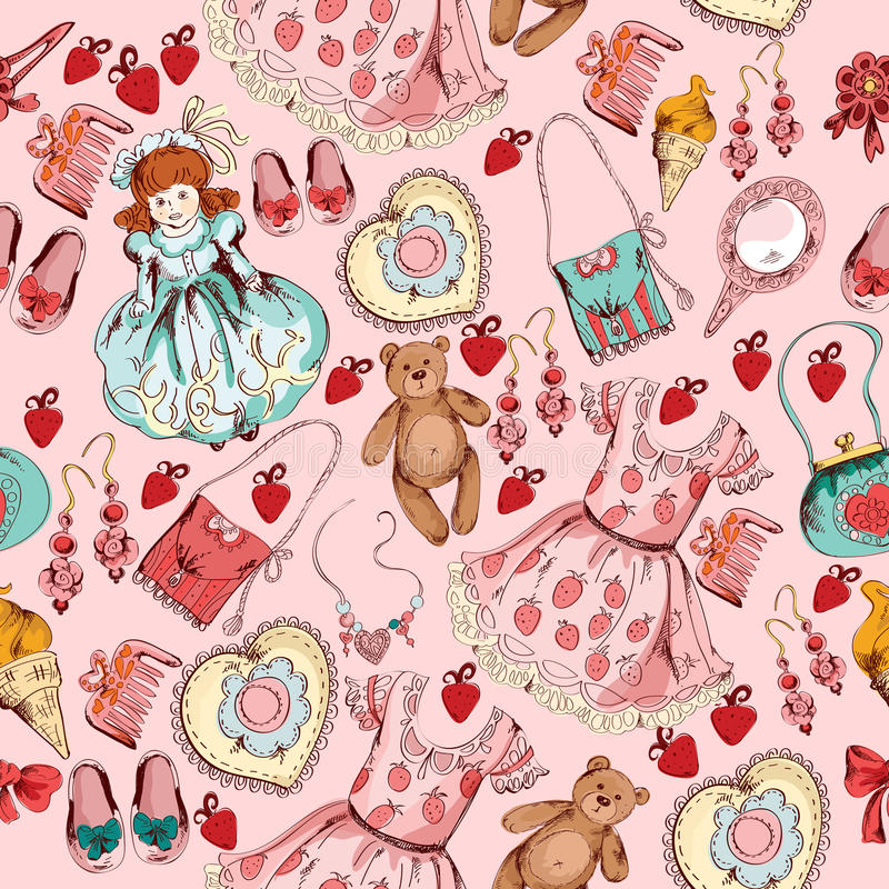 Sömlös modell för liten flickatillbehör stock illustrationer