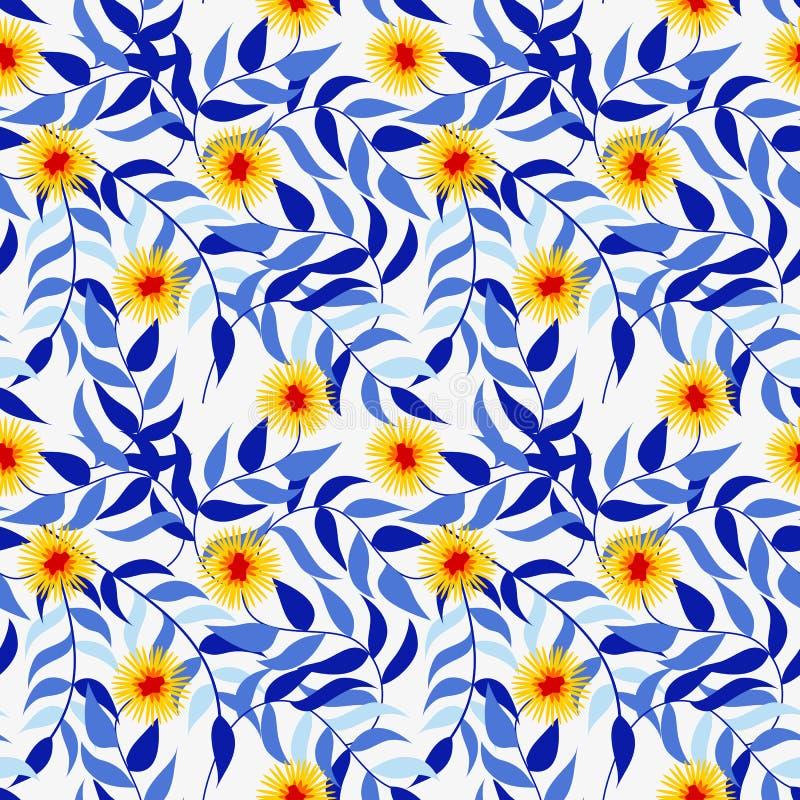 Sömlös modell för livlig gul blomma Härligt blom- begrepp vektor illustrationer